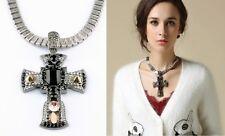N993 Forever 21 Cross Crucifix Rhinestone Black Gem Crystal Chain Necklace US
