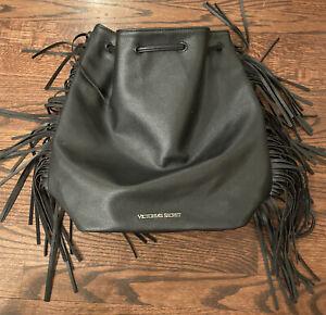 Vintage Large Victoria Secret Black Faux Leather Fringe Tassel Tote Bag Sexy VS