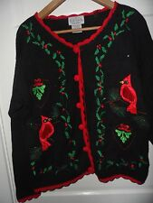 Holiday Sweater sz M to L Cardinals Holly, Red Crochet Trim, sequin beads