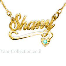 Personalized Name Necklace 14K Solid gold heart Sparkling underline and stone