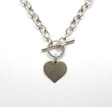 "Modern 925 Silver LOVE HEART & T BAR FRIENDSHIP BELCHER NECKLACE CHAIN 29.4g 16"""