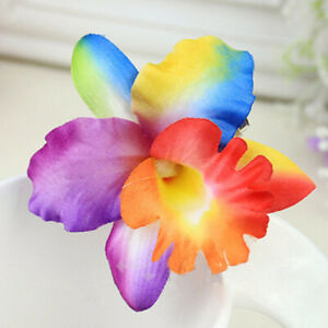 1PC Handmade Chic Thailand Orchid Flower Hair Clip Barrette DIY Hair Accessories