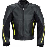 Cruiser Biker Jacket Black Cowhide Leather Motorcycle Sports Racer Yellow Stripe