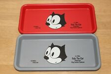 RARE FELIX THE CAT Vintage Steel Mini Tray Gray Red Set 2