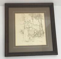 """Barbel Amos Framed Art """"Wash Day"""" Pen and Ink 1984 Homemaking History Primitive"""