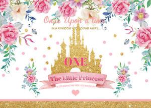 7x5ft Vinyl Studio Backdrop Gold Castle Little Princess 1ST Birthday Background