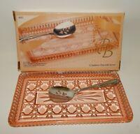 Vintage Indiana Glass Peach Ballard Glass Cranberry Plate with Oneida Spoon MIB
