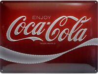 Coca Cola Logo Groß Geprägtes Metall Zeichen 400mm x 300mm (Na 23282)