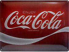 More details for coca cola logo large embossed metal sign 400mm x 300mm (na 23282)