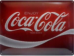 Coca Cola Logo large embossed metal sign 400mm x 300mm (na 23282)