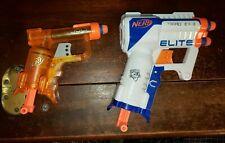 Lot 2 NERF N-Strike Dart Guns White Triad EX-3 & Clear Orange Jolt w 4 Darts