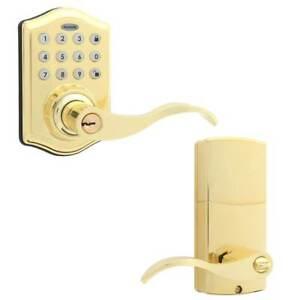 Honeywell 8734001 Electronic Entry Keypad Lever Door Lock - Polished Brass