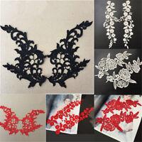 1 Pair Venise Motif Lace Applique Trim Wedding Bridal Dress Embroidery Sew DIY