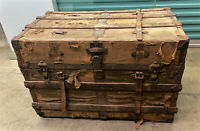 Antique HW ROUNTREE Flat Top Steamer Trunk Chest w/ Roll Back Tray & Label