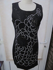 MOLLY BRACKEN BLACK DRESS WITH LARGE FLORAL DETAIL SIZE 12 (T2) NEW (401) SALE