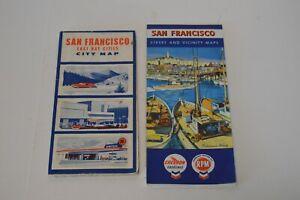 2 Vintage San Francisco California Street Maps Chevron East Bay Cities