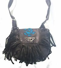 Genuine Leather Purse, Fringe, Teal Rose Inlay, Small Biker Style