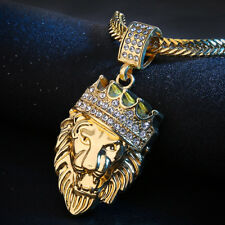 Gold Lion Fashion Men Stainless Steel Bling Crystal Pendant Necklace Jewelry