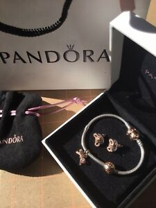 Genuine Pandora Rose Gold Moments Heart Bracelet Clip Charm Earring Set Box Bag