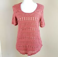 Anthropologie Wolven Lace Overlay Short Sleeve Top Sz S small Crochet