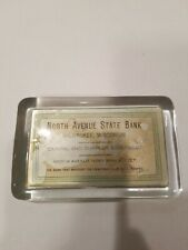 Antique Advertising North Avenue State Bank Milwaukee glass Paperweight Lot A12