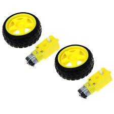 2Pcs Smart Robot Car Plastic Tire Tyre Wheel w/ DC 6V Gear Motor Set For Arduino