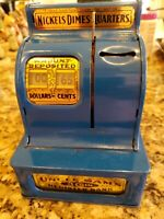 UNCLE SAM'S 3 COIN REGISTER ROYAL BLUE MECHANICAL BANK EXCELLENT WORKING CONDTN