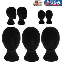 Styrofoam Foam Mannequin Wig Head Display Hat Cap Holder Black Female Model NEW
