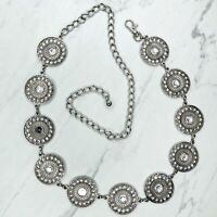 Silver Tone Rhinestone Concho Medallion Belly Body Chain Belt One Size
