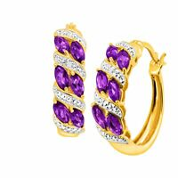 Natural Amethyst Hoop Earrings w Diamonds 18K Gold Flashed & Silver-Plated Brass