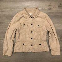 J. Jill Womens Beige Button Down Linen Shirt Metal Buttons Long Sleeve Size M