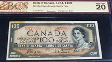 1954 DEVIL'S FACE  ,CERTIFIED  BANKNOTE.. BANK  OF CANADA $100 (SERIAL # 226638)