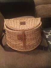 Creel Wicker Fish Basket Vintage Fishermans Traps Willow W/ Strap Pouch Fishing