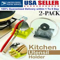 2PCS Cooking Utensil Kitchen Silicone Spoon Rest Spatula Holder Heat Resistant