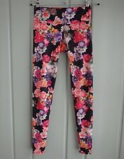 Onzie Yoga Womens XS Black Photo Floral Leggings Stretch Pants Roses Athleisure
