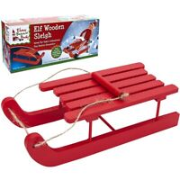 Large Wooden Red Elf Sleigh Sled Naughty Elves Christmas Accessory Decoration