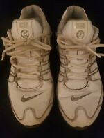 MENS NIKE SHOX NZ SL LEATHER RUNNING SHOES SIZE 8 WHITE SILVER 366363 111