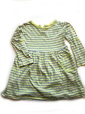 süßes Mädchen Kleid Gr. 98/104 zitronen gelb grau geringelt Streifen gestreift