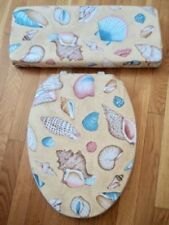 Seashells Sand Beach House Coastal Bathroom Decor Toilet Seat Lid Cover Set