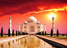 SUPERB INDIA TAJ MAHAL CITYSCAPE CANVAS #185 INDIAN SUNSET PICTURE A1 WALL ART