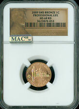 2009 CENT PROFESSIONAL LOGO NGC MAC MS68 RED SMS 95% COPPER 2ND FINEST  *
