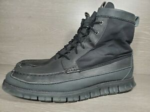 Cole Haan ZeroGrand Men Black Tall Lace Up Lweather Ankle Boots Size 13 M (g
