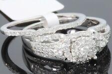 10K WHITE GOLD 1 CARAT WOMENS REAL DIAMOND ENGAGEMENT RING WEDDING BAND SET