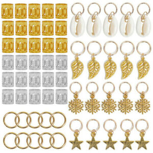 80pcs Hair Cuff Braids Clips Braiding Rings Leaf Star Snowflake Dangle Jewellery