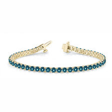 2.43 Carat Blue SI1 Round Diamond In Line Prong Set Bracelet14k YG For Women