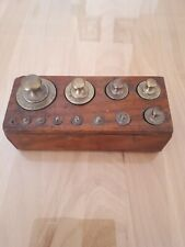 Vintage Brass Kg Scale Weights 12 Piece Set Original Wood Box