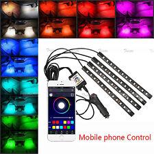 4x 12 LED Car Atmosphere RGB Phone App Music Control Strip Lights Interior Kit