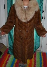 Gorgeous, supple, shiny, red mink stroller swing coat with fox collar