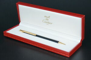 Cartier ST150092 Must Rare Black and Gold Ballpoint pen w/Box #C34