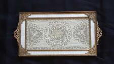 Fantastic Antique Apollo Studios Vanity Tray Gold Ormolu Guilloche Lace Instert